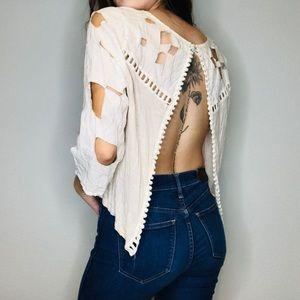 BKE Gimmicks crochet cutout lace open back top